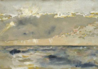 Cloud bank over a choppy sea - Carl Larsson (1882)