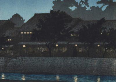 Crescent moon and tea houses, Kanazawa - Hasui Kawase (1920)