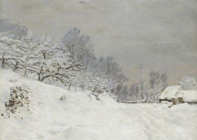 Environs de Honfleur, neige - Claude Monet (1840)