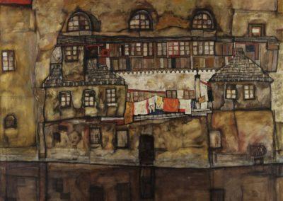 Façade sur la rivière - Egon Schiele (1915)