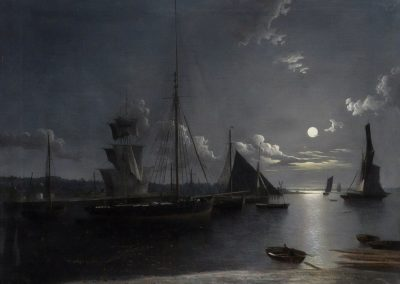 Fishing and other vessel on a moonlit estuary - Henry Pether (1845)