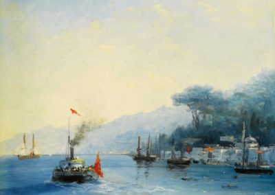 Flotte sur le Bosphore - Ivan Constantinovich Aivazovsky(1900)