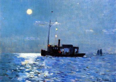 Isle of shoals, moonlight - Frederick Childe Assam (1890)