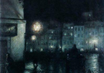 Le marche de la vieille ville, Varsovie la nuit - Jozef Pankiewicz (1892)