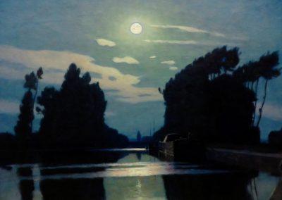 Lever de lune sur un canal - Charles Guilloux (1901)