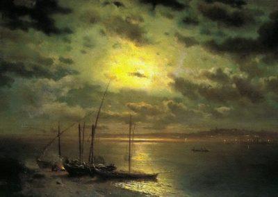 Moonlit night on the river - Lev Kamenev (1870)