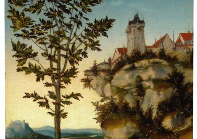 Paysage avec chateau fort en bord de falaise et arbres - Lucas Cranach l'Ancien (1527)