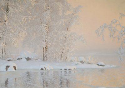 Paysage d'hiver avec la gele - Gustav Fjaestad(1909)