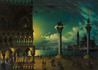 Place Saint Marc un soir de pleine lune - Leone Colle (1878)