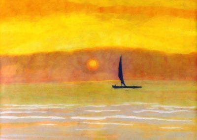 Sailboat at sunset - Léon Spilliaert (1922)