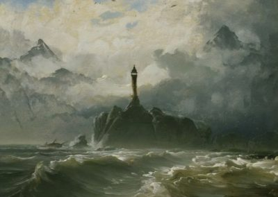 Seascape and lighthouse - Peder Balke (1848)