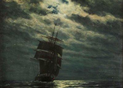 Ship in the moonlight - Zacharias Martin Aagaard (1909)