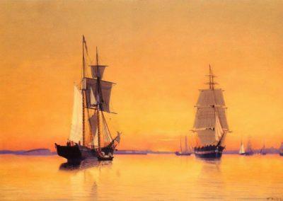 Ships in Boston harbor at twilight - William Bradford (1859)