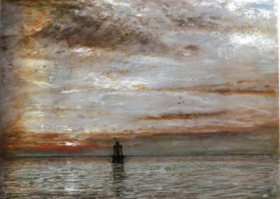 Sunset,Lion's mouth, Dutch Guiana - Albert Goodwin (1912)