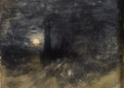 The Eddystone lighthouse in a storm by a full moon - William Turner (1813)