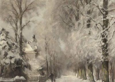 Wandering along a snowy lane - Lodewijk Frederik Hendrik (1909)
