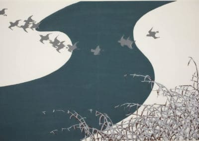Bécasses survolant une rivière, rives de neige - Kamisaka Sekka (1909)