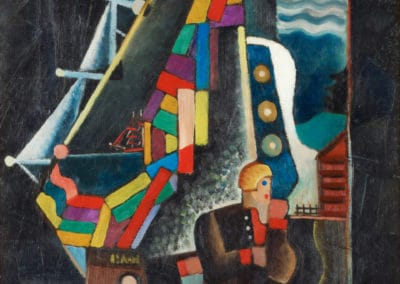 Composition with ship and figures - Gosta Adrian-Nilsson (1935)