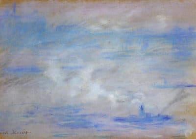Bateau sur la Tamise, effet de brume - Claude Monet (1901)