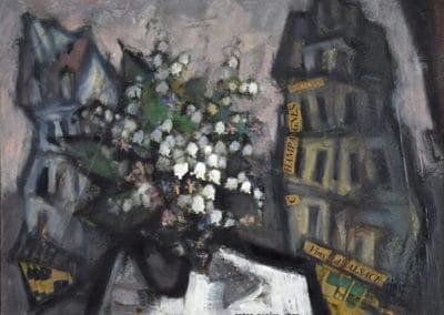 Bouquet de fleurs dans un paysage urbain - Oskar Rabine (1987)