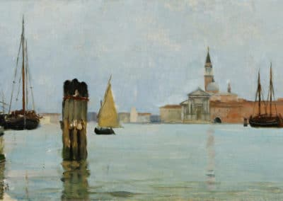 San Giorgio Maggiore and the campanile seen across the lagoon - Theodore Wendel (1899)