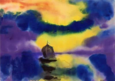 Evening sky and sea with sailboat - Emil Nolde (1912)