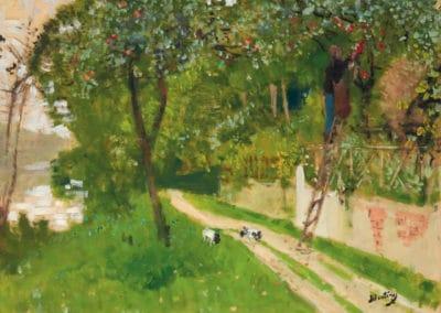 La cueillette des pommes au bord de la rivière - Pierre-Eugène Montézin (1940)