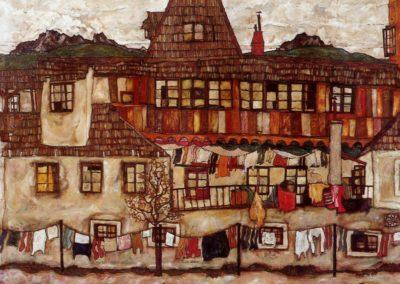 Maison avec du linge qui sèche - Egon Schiele (1917)