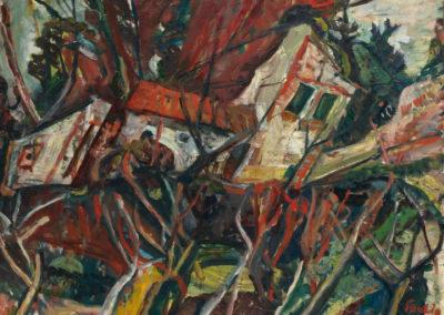 Paysage aux toits rouges - Chaim Soutine (1919)