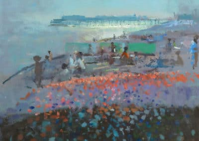 Poppies near Hastings Pier - Frederick Cuming (1887)