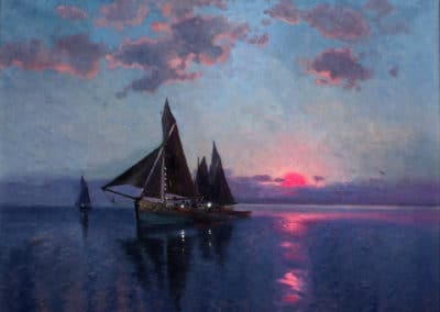 Sailing ships at dawn - Carl Brandt (1916)