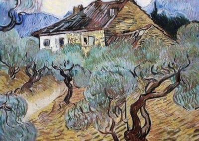 Le cotage blanc au milieu des oliviers - Vincent van Gogh (1889)