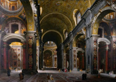 The interior of St Peter's, Rome - Giovanni Paolo Panini (1755)