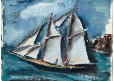 Deux mats devant la côte - Maurice de Vlaminck (1925)