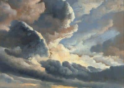 Etude de nuages avec coucher de soleil aux abords de Rome - Simon Denis (1786)