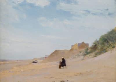 Artiste peignant sur la plage de la Panne - Ivan Pokhitonov (1895)