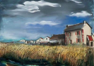 Champs de blés et maisons - Maurice de Vlaminck (1928)
