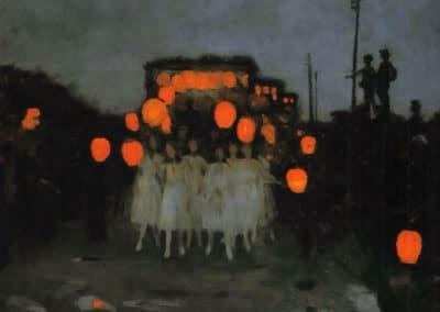 La procession des lanternes - Thomas Cooper Gotch (1918)