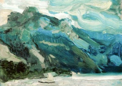 Lake Traunsee with the Schlafende Griechin mountain - Richard Gerstl (1902)