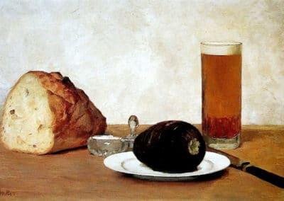 Nature morte avec verre de bière, pain, salière et avocat - Albert Anker (1895)