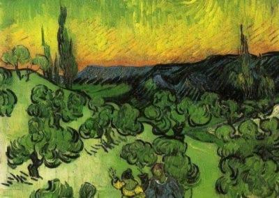 Paysage avec couple marchant au clair de lune - Vincent van Gogh (1888)