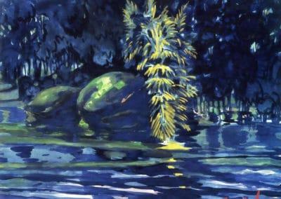 Boulders on a riverbank - George Luks (1919)