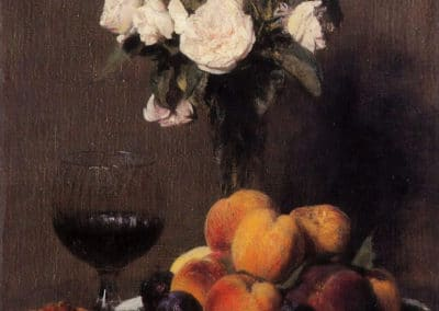 Nature morte aux roses, fruit et verre - Henri Fantin-Latour (1872)