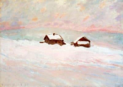 Maisons dans la neige, Norvège - Claude Monet (1885)