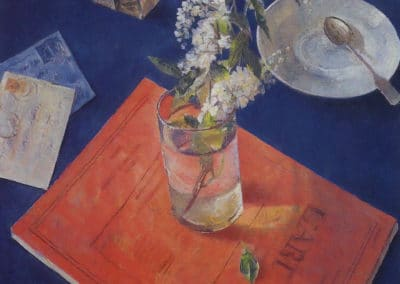 Bird cherry in a glass - Kuzma Petrov-Vodkin (1932)