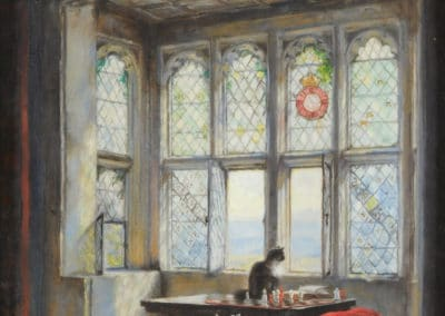 Interior scene with a cat seated beside a window - Frank Moss Bennett (1923)