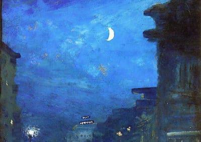 City street in moonlight - Louis M. Eilshemius (1929)