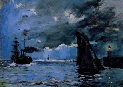 Paysage de mer, effet de nuit - Claude Monet (1866)