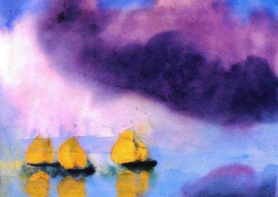 Sea with violet clouds and three yellow sailboats - Emil Nolde (1946)