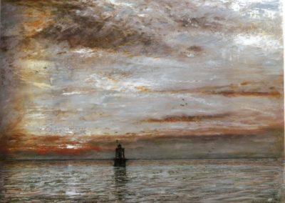 Sunset,Lion's mouth, Dutch Guiana - Albert Goodwin (1912)